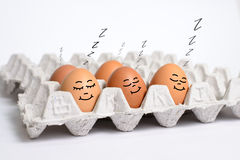 Egg sleep on eggs panel. This's fun concept Royalty Free Stock Photography