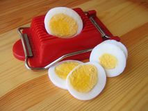 Egg and slicer. Boil,boiled,breakfast,coocking,egg,eggs,food,hard,meal,nutrition,proteins,red,sandwich,slice,sliced,slicer,slices,tasty,tool,tray,white,yolk Royalty Free Stock Image