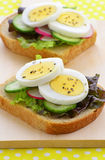 Egg slices on whole wheat bread Royalty Free Stock Images