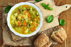 Egg soup. Bowl of home made egg soup with vegetables Royalty Free Stock Image