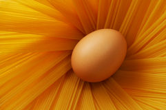 Egg and spaghetti. One egg and some spaghetti Royalty Free Stock Images