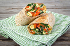 Egg and spinach wrap sandwich Stock Photos