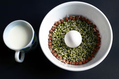 Egg, Sprout, Chana sprout. A protein rich breakfast diet consists of egg, sprout green gram and a cup of milk Stock Photo