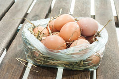 Egg in staw. (Eggs on straw in a plastic bag Royalty Free Stock Images