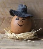 Egg su un nido stilizzato su un bordo di legno 1 Immagini Stock Libere da Diritti