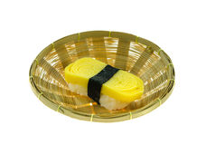Egg sushi in basket Royalty Free Stock Photography