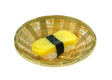 Egg sushi in basket Royalty Free Stock Images