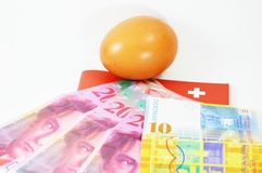 Egg and Swistzerland  banknote Royalty Free Stock Photos