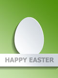 Egg symbol on Happy Easter label over green Stock Photography