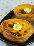 Egg tart on green dot  background Royalty Free Stock Photos