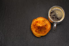 Egg tart pastel de nata with cup of coffee Royalty Free Stock Image