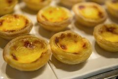 Egg tart, sweet dessert in buffet line royalty free stock photography
