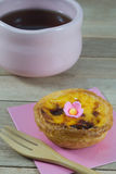 Egg tart on wood background Royalty Free Stock Photo