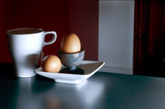 Egg with tea breakfast Royalty Free Stock Photography