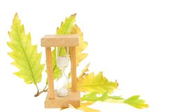Egg timer and Autumn leaves Stock Images