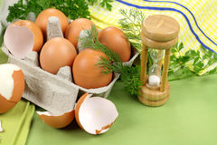Egg Timer With Eggs stock images
