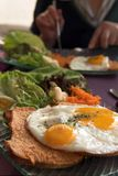 Egg toast. With vegetables on a table Stock Image