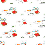 Egg toast breakfast seamless pattern Royalty Free Stock Image