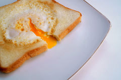 Egg in Toast. One of my lovely breakfast, toast with egg in it Stock Photo