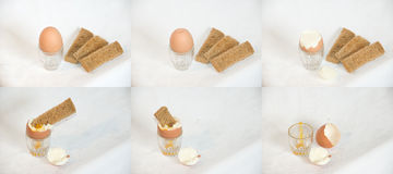 Egg and Toast Soldiers. Time sequence compilation of 6 photo's of a boiled egg and toast soldiers being eaten Stock Image