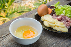 egg tofu and pork with raw Stock Photography