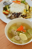 Egg tofu soup and stir fried vegetable with pork liver on rice Stock Photo