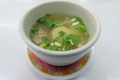 Egg Tofu Soup, Thai easy menu royalty free stock photo