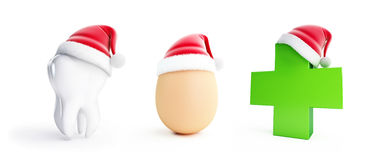 Egg, Tooth,Medical cros santa hat on a white background 3D illustration Royalty Free Stock Photography