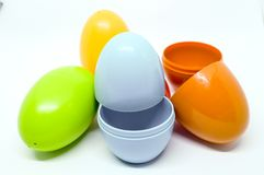 Egg toys have 2 pieces  and can put something inside. Egg toy made with  plastic and open inside you can put some mini toy to suprise and can change color Stock Image