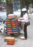Egg transport in Vietnam. Lady stacking eggs onto a motorcycle in Vietnam Stock Photography