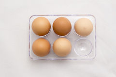 Egg Tray, Five Eggs, Six Eggs Minus One Stock Photo