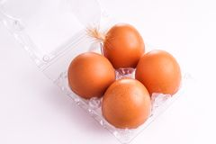 Egg tray with four egg Royalty Free Stock Photos