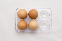 Egg Tray, Four Eggs, Six Eggs Minus Two Royalty Free Stock Image