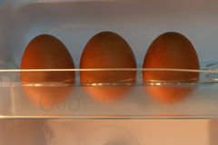 Egg Tray Front View. Front view of egg tray in refrigerator Royalty Free Stock Images