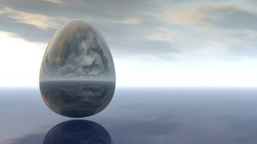 Egg under cloudy sky Royalty Free Stock Photos