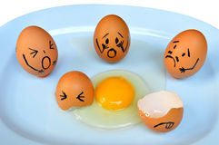 Egg with various emotions. Funny easter eggs with drawn faces depicting various emotions Royalty Free Stock Image