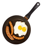 Egg and veal sausage breakfast isolated Royalty Free Stock Photography