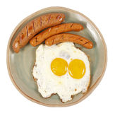 Egg and veal sausage breakfast isolated Stock Image