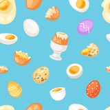 Egg vector easter food and healthy eggwhite or yolk in egg-cup or cooking omelette in frying pan for breakfast royalty free illustration