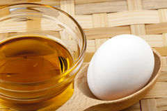 Egg and vegetable oil Royalty Free Stock Photography