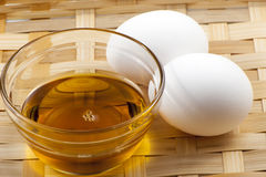 Egg and vegetable oil Royalty Free Stock Photos