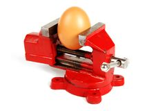 Egg in a Vice Royalty Free Stock Photo
