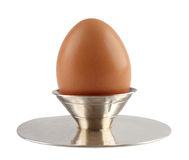 Egg in Vintage Silver Holder for Eggs. Royalty Free Stock Photo