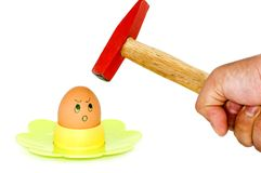 Egg vs Hammer Royalty Free Stock Photography