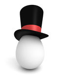 Egg wearing a Classic black cylinder hat. Stock Photography