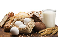 egg and wheat flour for bread Stock Images