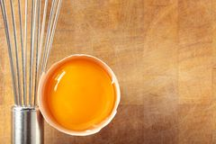 Egg and whisk. Royalty Free Stock Photos