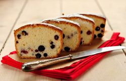 Egg White Cake with Berries Stock Photo