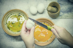 Egg white and egg yolk in two bowls. Process of Cooking cake Royalty Free Stock Photos
