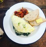 Egg white omelette. With toast bread and Royalty Free Stock Photos
